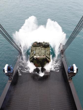 Amphibious Assault Vehicles Disembark from USNS 1st LT Jack Lummus