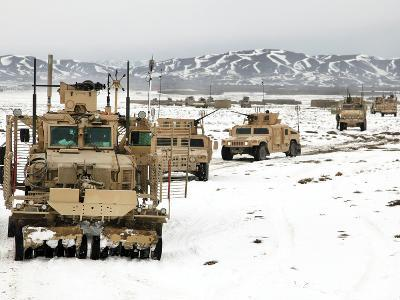 A Convoy of Vehicles During a Route Clearing Procedure in Afghanistan