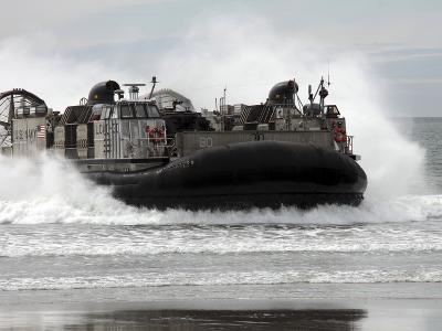 U.S. Navy Landing Craft Air Cushion Makes a Beach Landing
