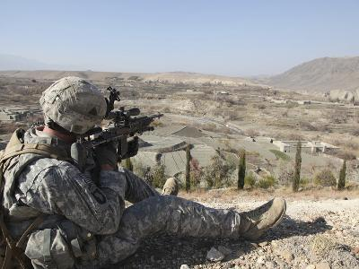 U.S Army Soldier Scans His Sector of Fire with His M14 Rifle in Afghanistan