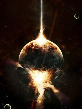 A Concentrated Gamma Ray Strikes a Planet, Tearing it Open