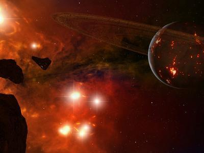 A Young Ringed Planet with Glowing Lava and Asteroids in the Foreground