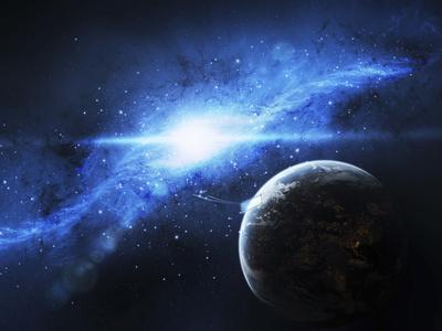 A Paradise World with a Huge City Looks Out on a Beautiful Nebula