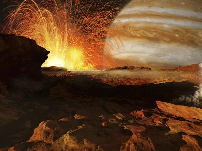 A Scene on Jupiter's Moon, Io, the Most Volcanic Body in the Solar System