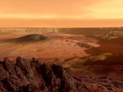 The View from the Rim of the Caldera of Olympus Mons on Mars