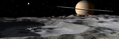 Saturn Seen from the Surface of its Moon, Rhea