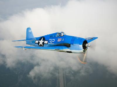 A Grumman F6F Hellcat Fighter Plane in Flight
