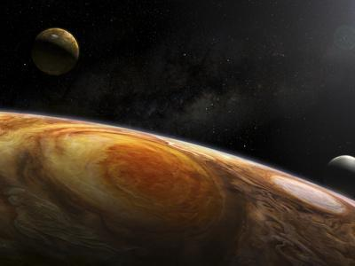 Jupiter's Moons Io and Europa Hover over the Great Red Spot on Jupiter