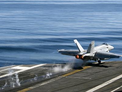 An F/A-18E Super Hornet Launches from the Flight Deck of USS Carl Vinson