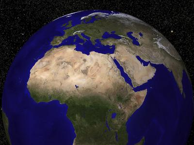 Global View of Earth over North Africa, Europe, the Middle East, and India
