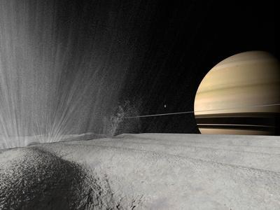 Illustration of a Geyser Erupting on the Surface of Enceladus