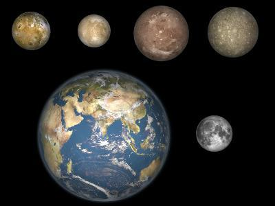 Artist's Concept of Jupiter's Four Largest Satellites Laid Out Above the Earth and it's Moon