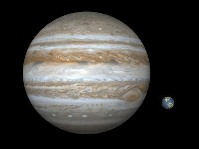 Artist's Concept Comparing the Size of the Gas Giant Jupiter with That of the Earth