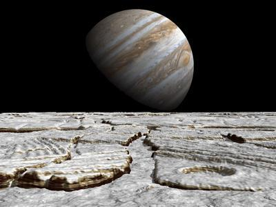Artist's Concept of Jupiter as Seen across the Icy Surface of its Moon Europa
