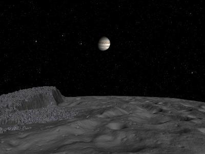 Artist's Concept of a View across the Surface of Themisto Towards Jupiter and its Moons