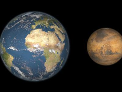 Artist's Concept Comparing the Size of Mars with That of the Earth