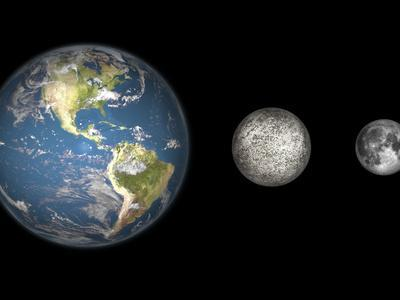 Artist's Concept of the Earth, Mercury, and Earth's Moon to Scale