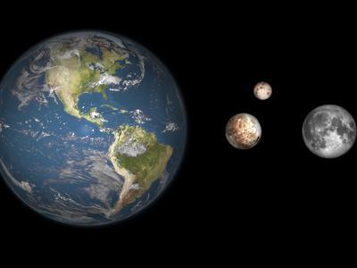 Artist's Concept of the Earth, Pluto, Charon, and Earth's Moon to Scale