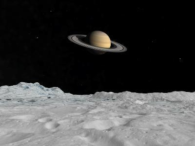Artist's Concept of Saturn as Seen from the Surface of its Moon Iapetus