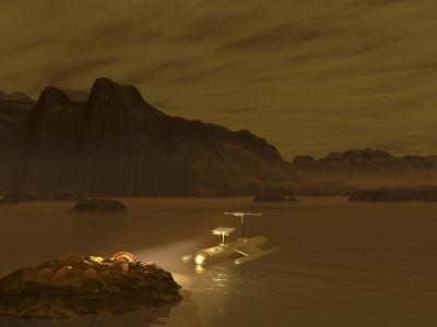 Artist's Concept of a Robotic Probe Exploring a Frigid Ethane Lake on Titan