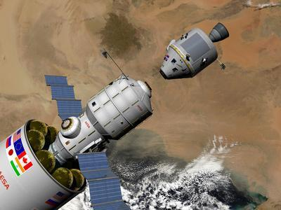 A Command Module Prepares to Dock with a Phobos Mission Rocket in Earth Orbit
