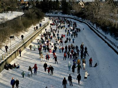 Skaters Enjoy a Beautiful Winter Afternoon on the Rideau Canal, Ottawa