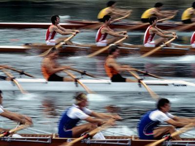 Crew Teams Race on Lake Banyoles