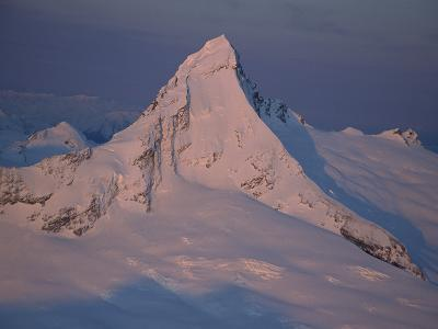 Aerial View of Mt Aspiring (3033 Meters) at Sunset, Winter, New Zealand
