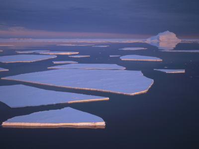 Broken Fast Ice under Midnight Sun and Impending Storm, Edward VIII Bay, East Antarctica