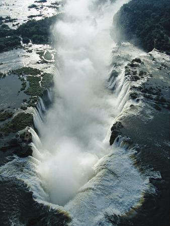 Aerial View over the Iguacu Falls, World's Largest Waterfalls