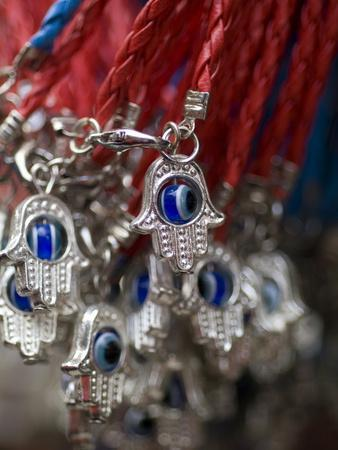 Hands of Fatima or Miriam Amulet Key Chains at the Carmel Market