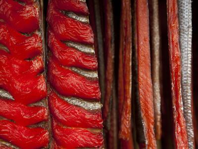 King Salmon Fish Fillets Hanging in Smokehouse on the Nushagak River