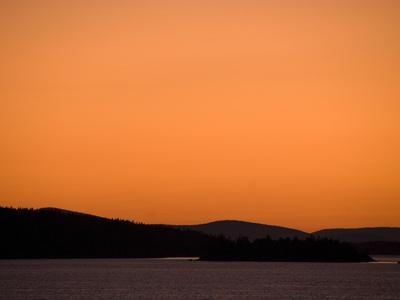 A Dramatic Orange Sunset over Penobscot Bay