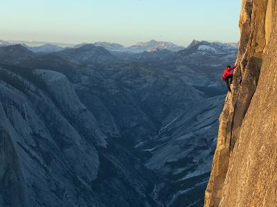 A Climber, Without a Rope, Takes on the Third Zigzag of Half Dome