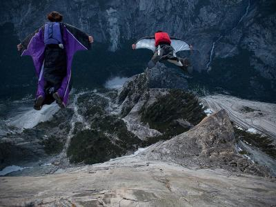 Climbers Base Jump from Half Dome and Hike Down the Back of the Mountain