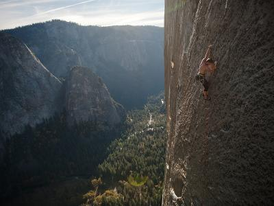 A Climber, Without a Rope, Grips an Expanse of El Capitan