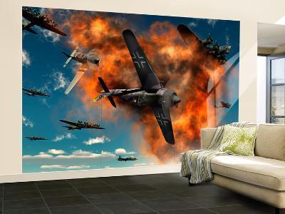 World War Ii Aerial Combat Between American P-51 Mustang and German Focke-Wulf 190 Fighter Planes