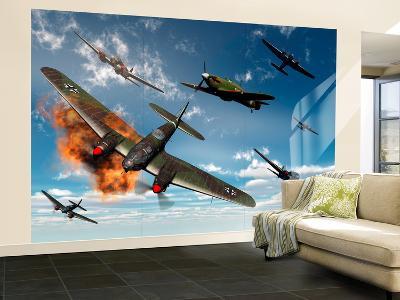British Hawker Hurricane Aircraft Attack a German Heinkel He 11 Bomber
