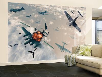 B-17 Flying Fortress Bombers Encounter German Focke-Wulf 190 Fighter Planes
