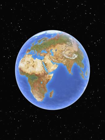 Globe against starfield