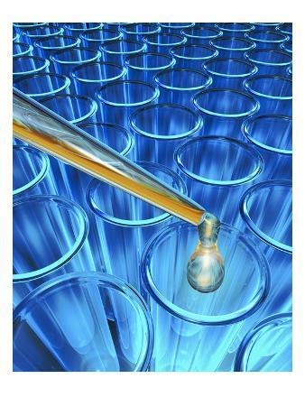 Pipette Dripping Liquid into Test Tubes