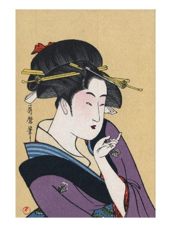 Japanese Matchbox Label with a Beckoning Woman