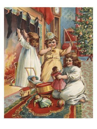 Illustration of Children on Christmas Eve