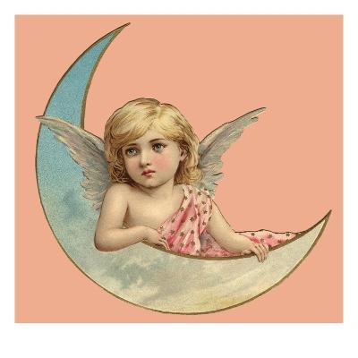 Illustration of an Angel and a Crescent Moon