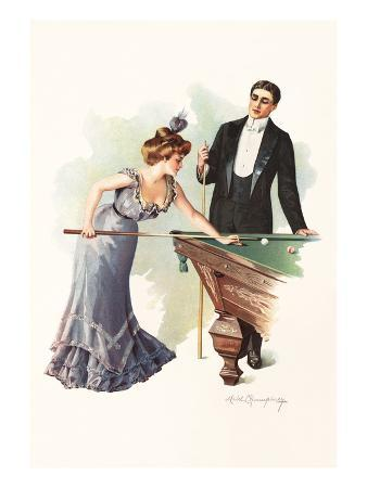Illustration of a Couple Playing Billiards by Mabel Humphrey