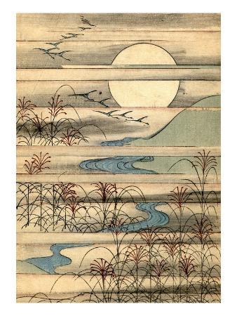Illustration of Full Moon Over a River Landscape