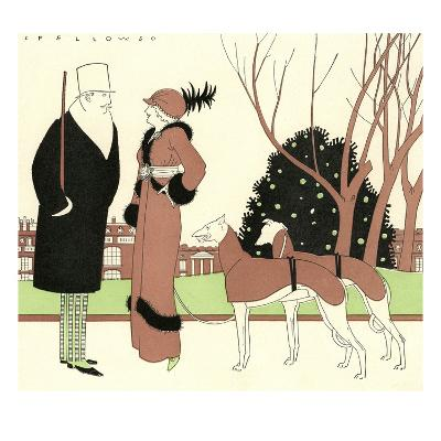 Illustration of Fashionable Couple with Two Greyhounds by L. Fellows
