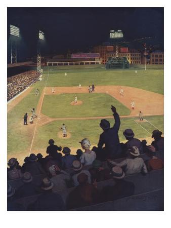 Illustration of First Major League Game Played Under Floodlights by H.M. Molt-Smith