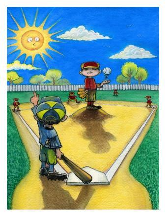 Child Pointing for Home Run in Baseball Game