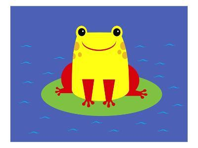Cheerful frog sitting on lily pad